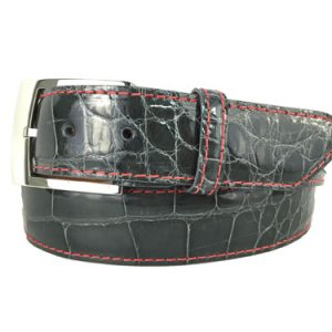 genuine grey gloss american alligator exotic belt