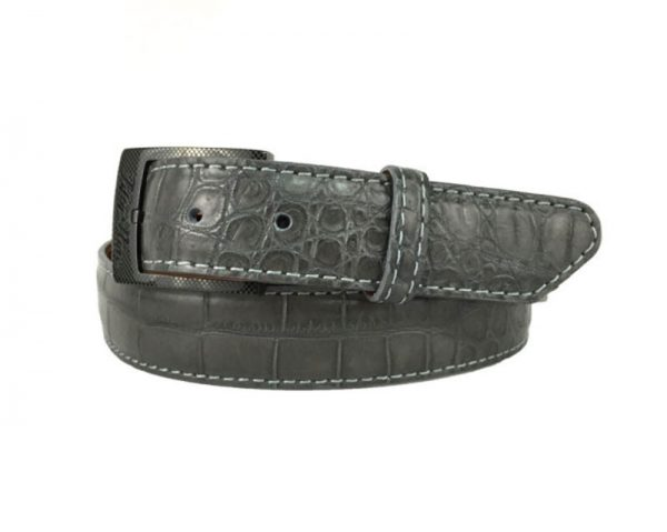 grey genuine matte american alligator belt with grey stitch