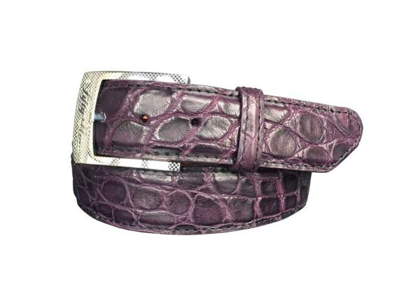 purple genuine matte american alligator belt with purple stitch