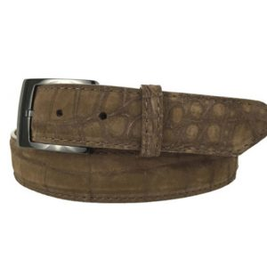 genuine suede american alligator belt strap - brown