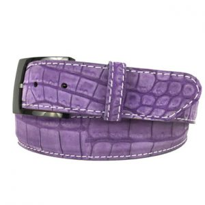 genuine suede american alligator belt strap - purple