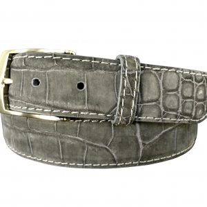 genuine suede american alligator belt strap - grey with white stitch