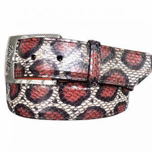 genuine exotic cobra belt strap - red