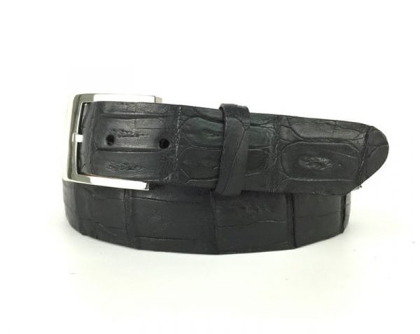 genuine american-made caiman crocodile belt strap - black
