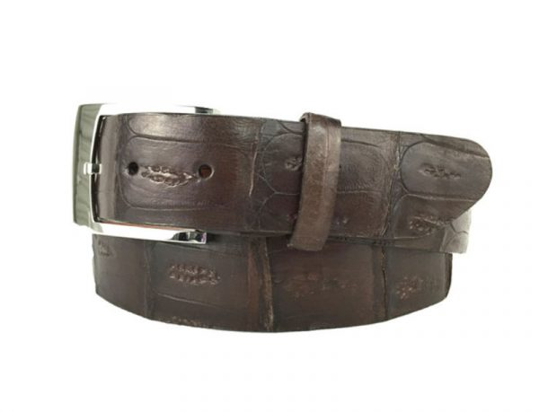 genuine american-made caiman crocodile belt strap - chocolate brown
