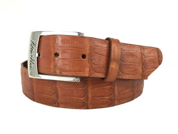 genuine american-made caiman crocodile belt strap - cognac