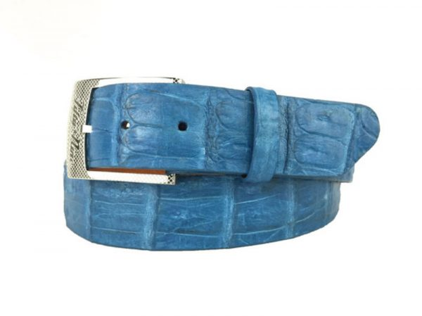 genuine american-made caiman crocodile belt strap - denim