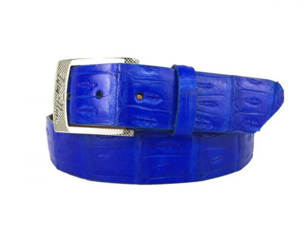 genuine american-made caiman crocodile belt strap - electric blue