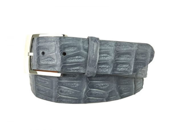 genuine american-made caiman crocodile belt strap - grey