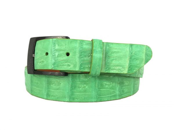 genuine american-made caiman crocodile belt strap - lime
