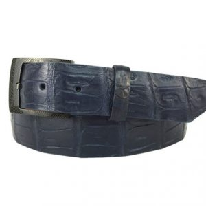 genuine american-made caiman crocodile belt strap - navy