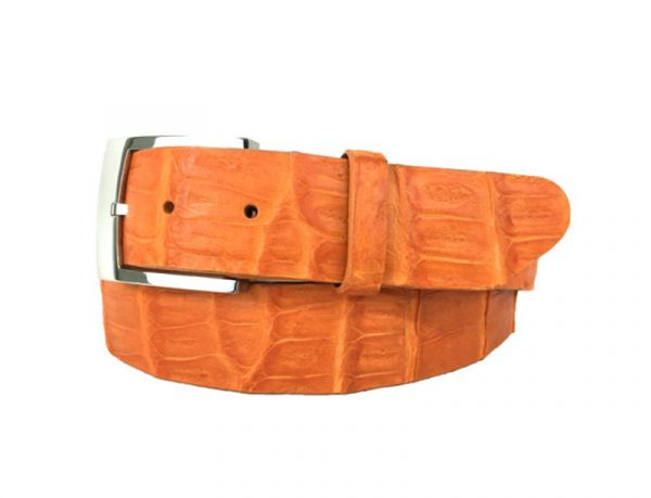 genuine american-made caiman crocodile belt strap - orange