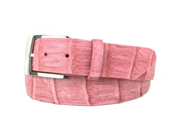 genuine american-made caiman crocodile belt strap - pink