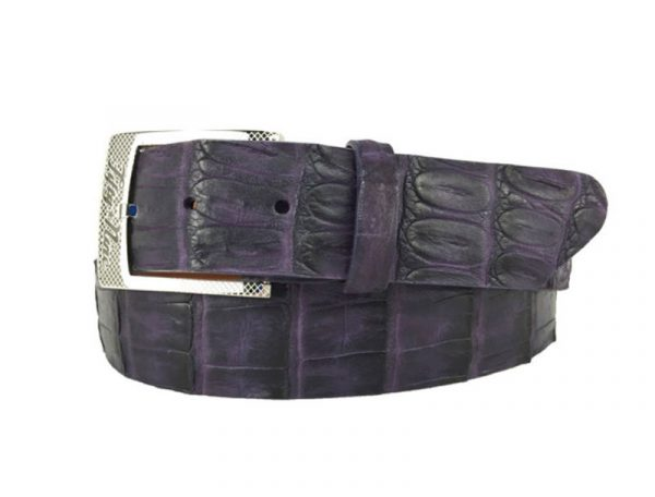 genuine american-made caiman crocodile belt strap - purple