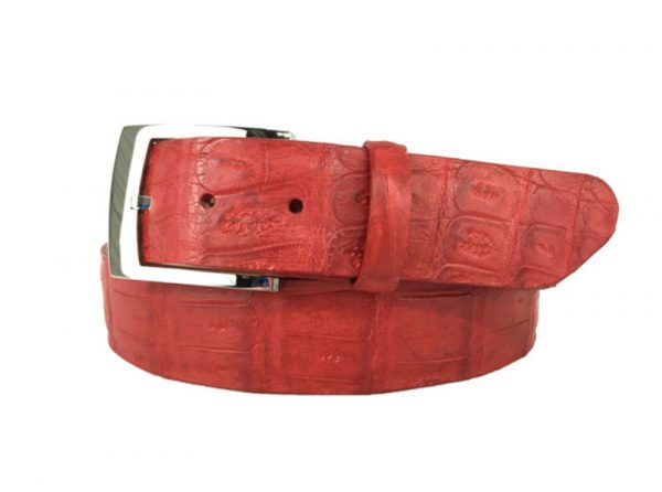 genuine american-made caiman crocodile belt strap - red