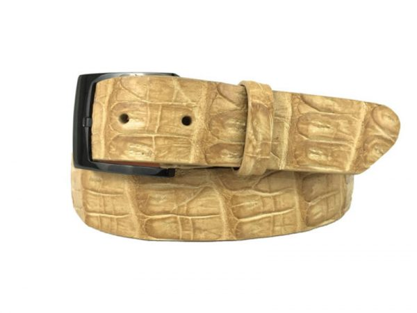 genuine american-made caiman crocodile belt strap - sand