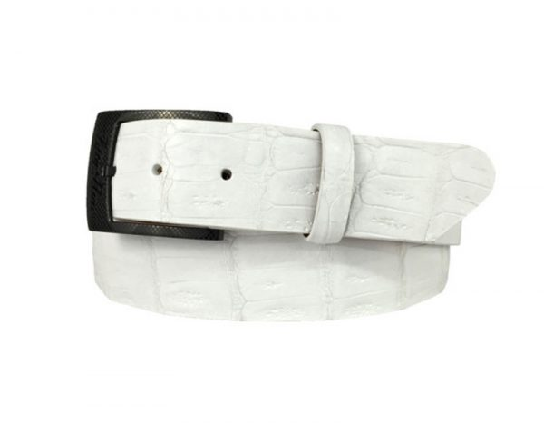 genuine american-made caiman crocodile belt strap - white