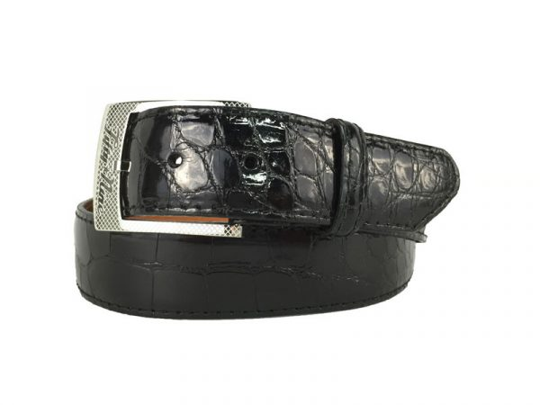 genuine gloss black american alligator exotic belt