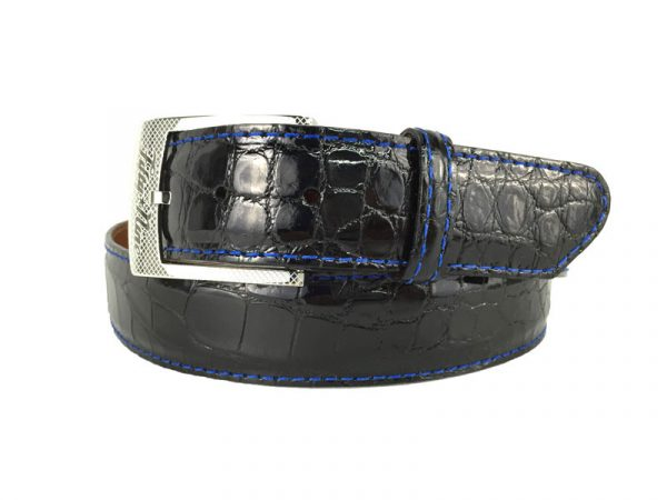 genuine gloss black american alligator exotic belt with blue stitch
