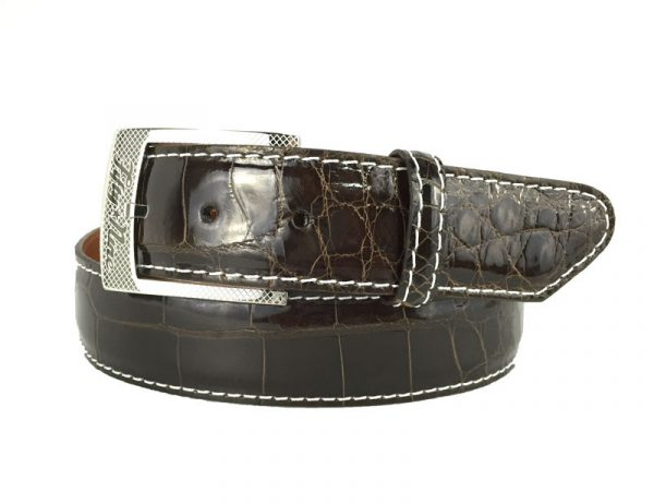 genuine gloss brown american alligator exotic belt with white stitch