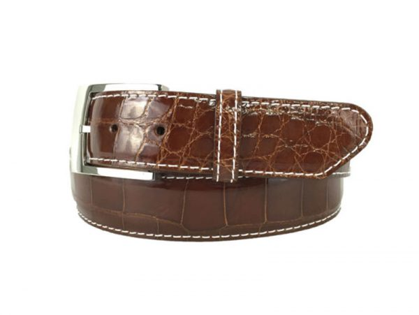 genuine gloss cognac american alligator exotic belt with white stitch