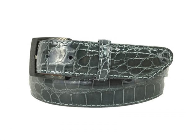genuine gloss grey american alligator exotic belt