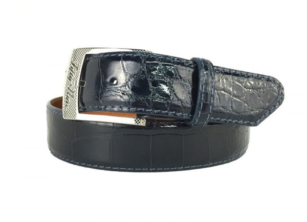 genuine gloss navy american alligator exotic belt