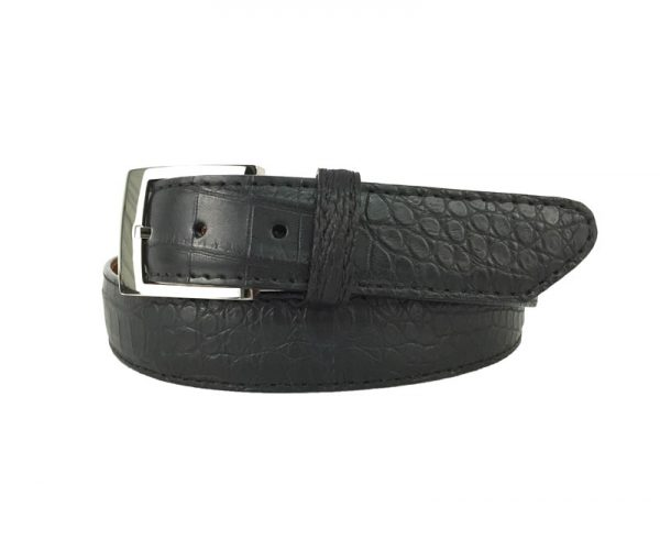 black genuine matte american alligator belt with black stitch