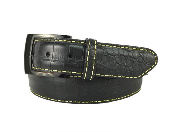 black genuine matte american alligator belt with yellow stitch