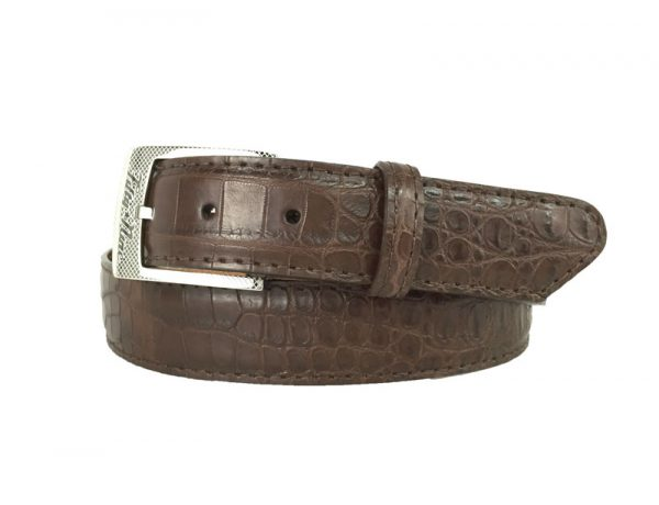 brown genuine matte american alligator belt with brown stitch
