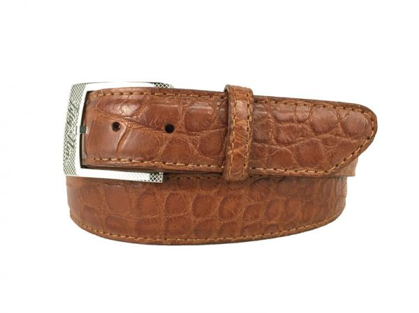 cognac genuine matte american alligator belt with cognac stitch