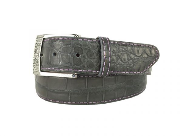 dark grey genuine matte american alligator belt with purple stitch