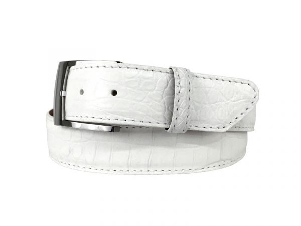 white genuine matte american alligator belt with white stitch