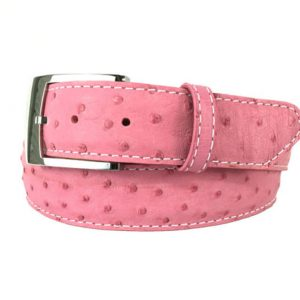 genuine pink exotic ostrich quill skin belt with white stitch