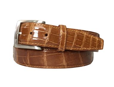 genuine gloss buttercup american alligator belt strap