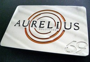 custom cnc milled stainless steel aurelius corporate solutions logo belt buckle