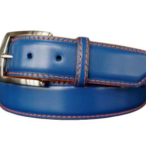 customizable calfskin belt strap florida blue with orange stitch