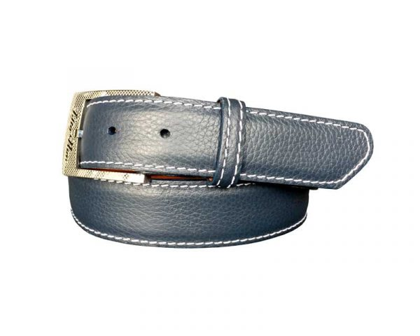 jean colored pebble calf skin belt strap with white stitch