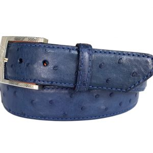 genuine navy exotic ostrich quill skin belt with navy stitch