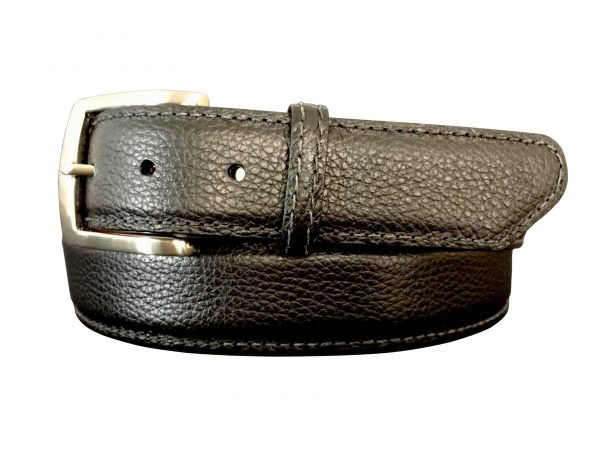 black pebble calf skin belt strap with a black stitch
