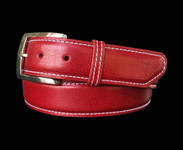 red pebble calf skin belt with white stitch