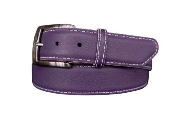 quality customizable calfskin belt strap purple with white stitch