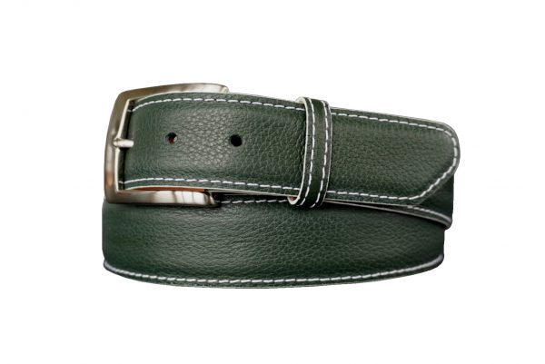 quality customizable calfskin belt strap michigan state green with white stitch