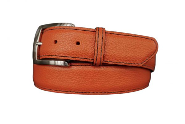 quality customizable calfskin belt strap oregon orange with black stitch