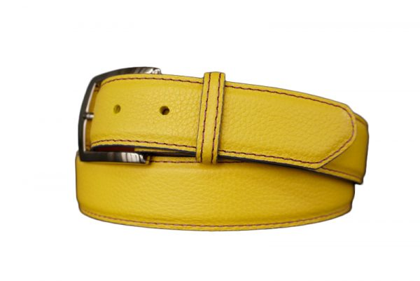 quality customizable calfskin belt strap lsu yellow with purple stitch