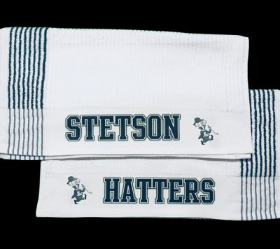 custom team logo golf towels in various colors