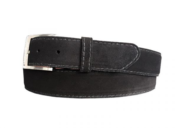 customizable suede calf skin belt strap black