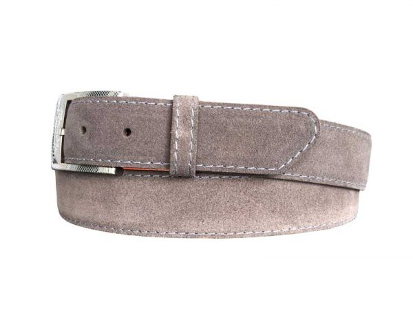 customizable suede calf skin belt strap grey