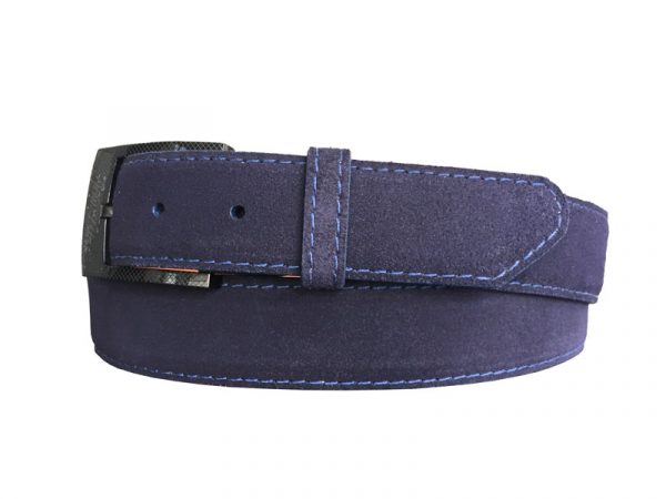 customizable suede calf skin belt strap navy