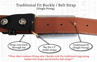 59 belts traditional fit buckle style fitting system